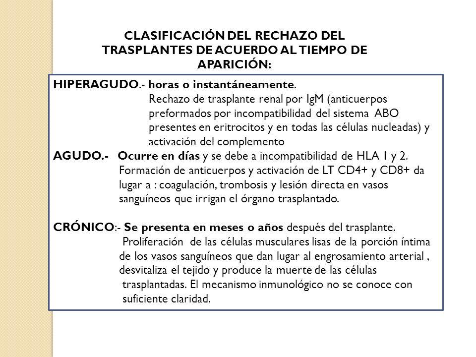 CLASIFICACIÓN DEL RECHAZO DEL TRASPLANTES DE ACUERDO AL TIEMPO DE APARICIÓN: