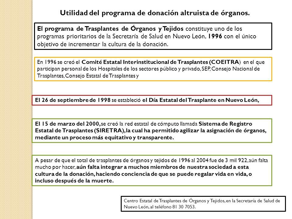 Utilidad del programa de donación altruista de órganos.