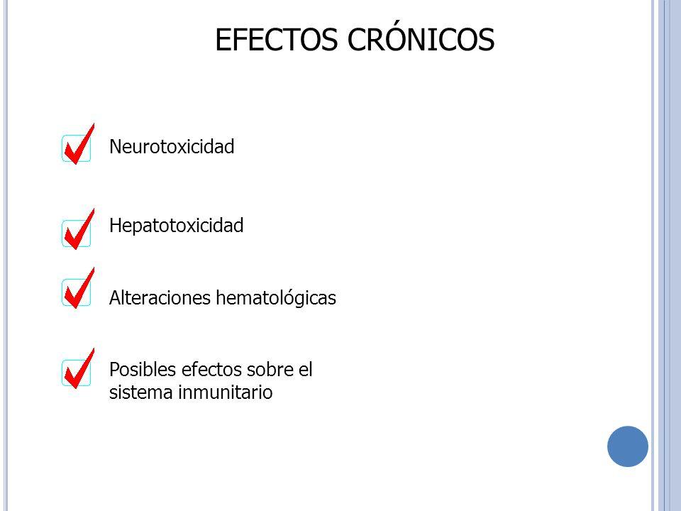 EFECTOS CRÓNICOS Neurotoxicidad Hepatotoxicidad