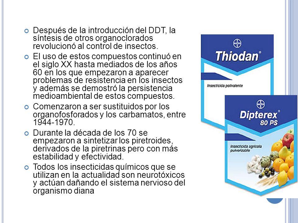 Después de la introducción del DDT, la síntesis de otros organoclorados revolucionó al control de insectos.