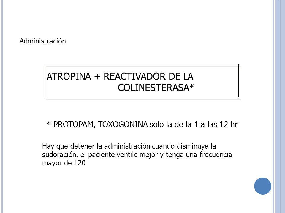 ATROPINA + REACTIVADOR DE LA COLINESTERASA*