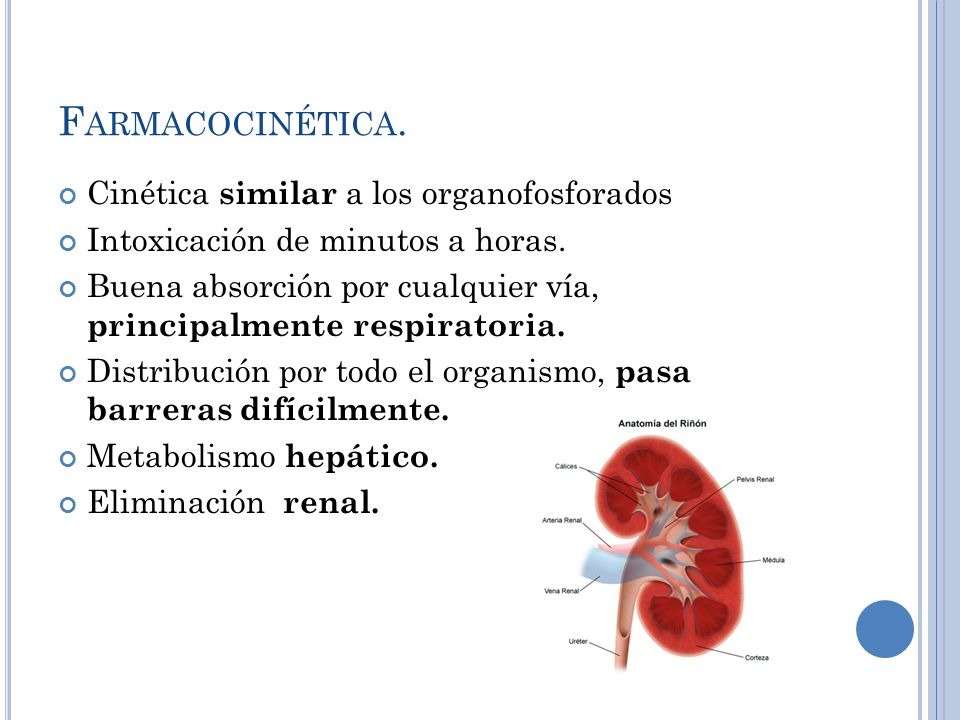 Farmacocinética. Cinética similar a los organofosforados