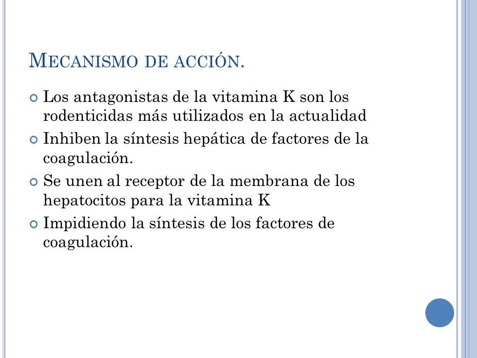 Mecanismo de acción.Los antagonistas de la vitamina K son los rodenticidas más utilizados en la actualidad.