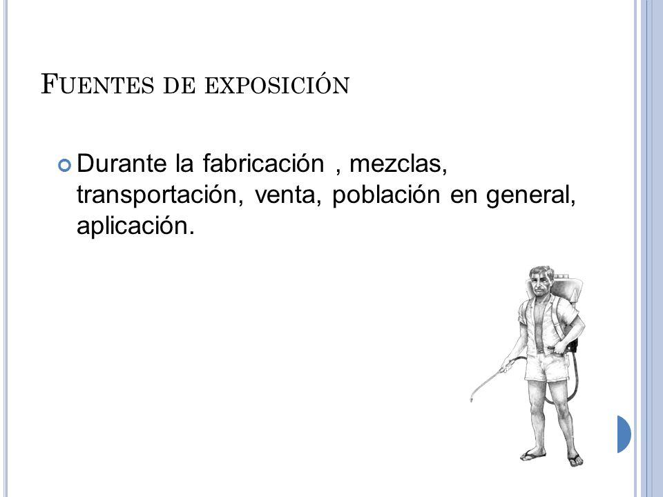 Fuentes de exposición Durante la fabricación , mezclas, transportación, venta, población en general, aplicación.