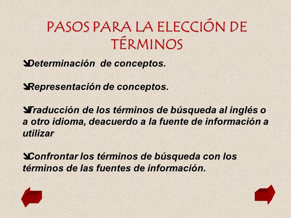PASOS PARA LA ELECCIÓN DE TÉRMINOS