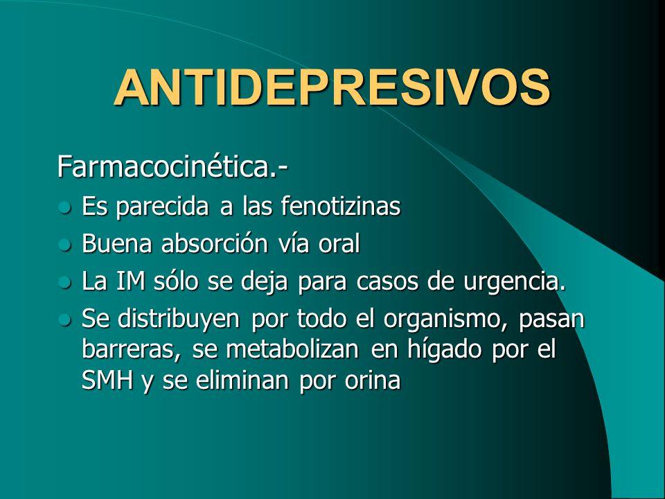 ANTIDEPRESIVOS Farmacocinética.- Es parecida a las fenotizinas