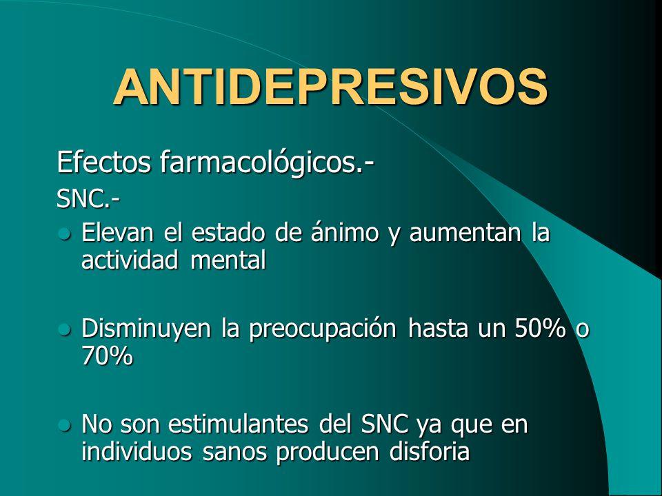 ANTIDEPRESIVOS Efectos farmacológicos.- SNC.-
