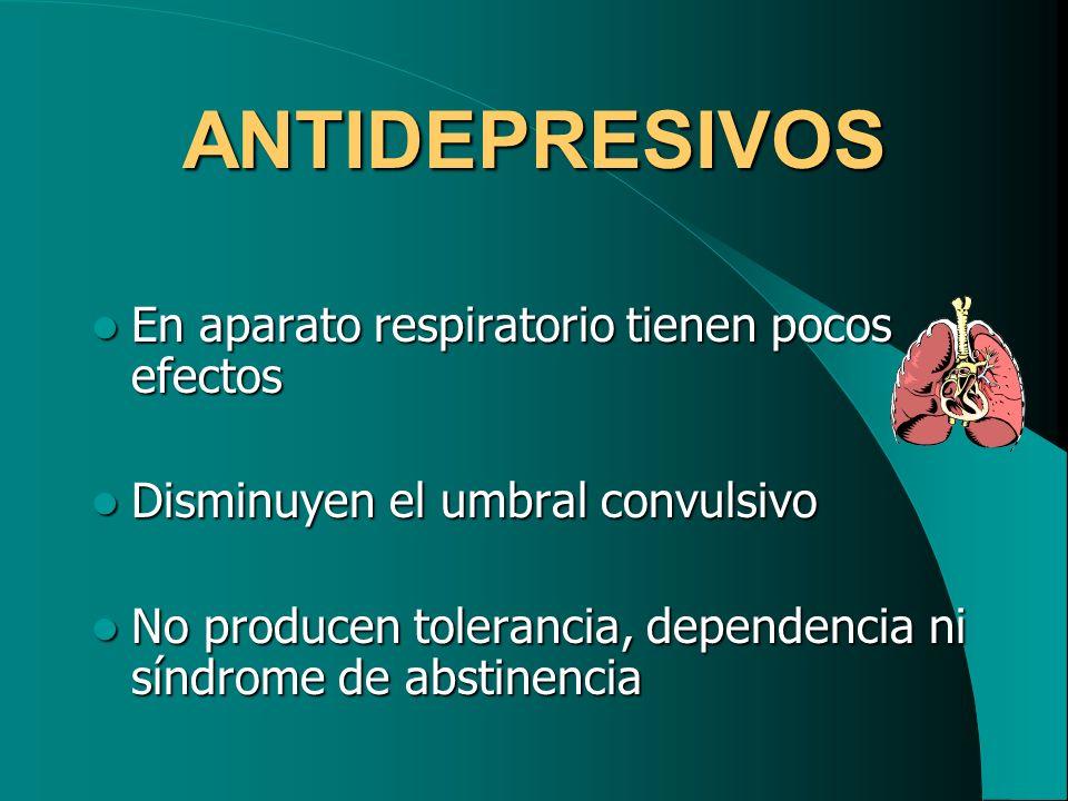 ANTIDEPRESIVOS En aparato respiratorio tienen pocos efectos