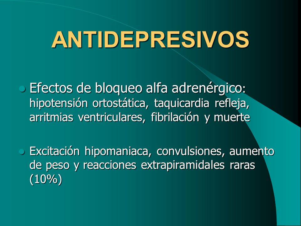 ANTIDEPRESIVOSEfectos de bloqueo alfa adrenérgico: hipotensión ortostática, taquicardia refleja, arritmias ventriculares, fibrilación y muerte.
