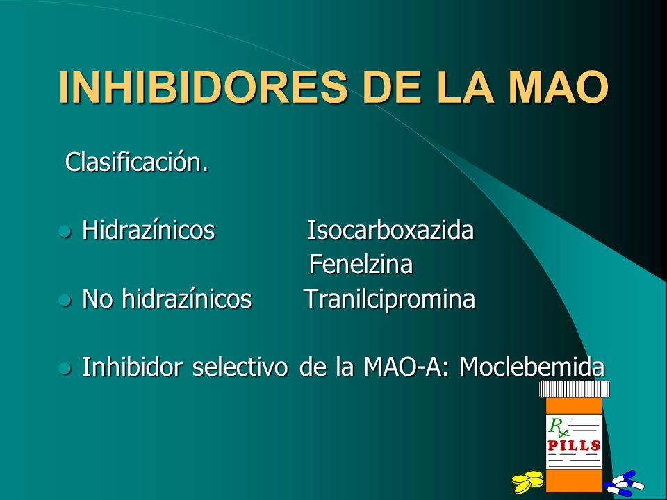 INHIBIDORES DE LA MAO Clasificación. Hidrazínicos Isocarboxazida