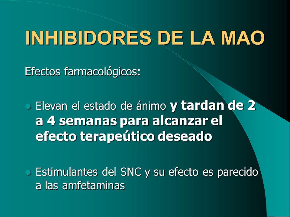 INHIBIDORES DE LA MAO Efectos farmacológicos: