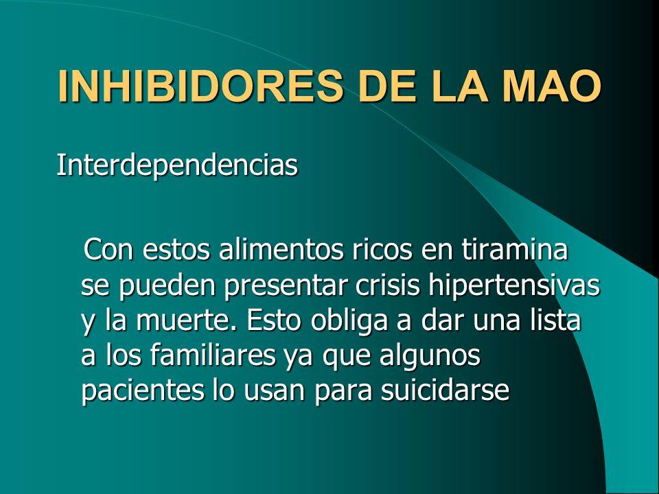 INHIBIDORES DE LA MAO Interdependencias
