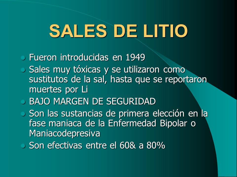 SALES DE LITIO Fueron introducidas en 1949