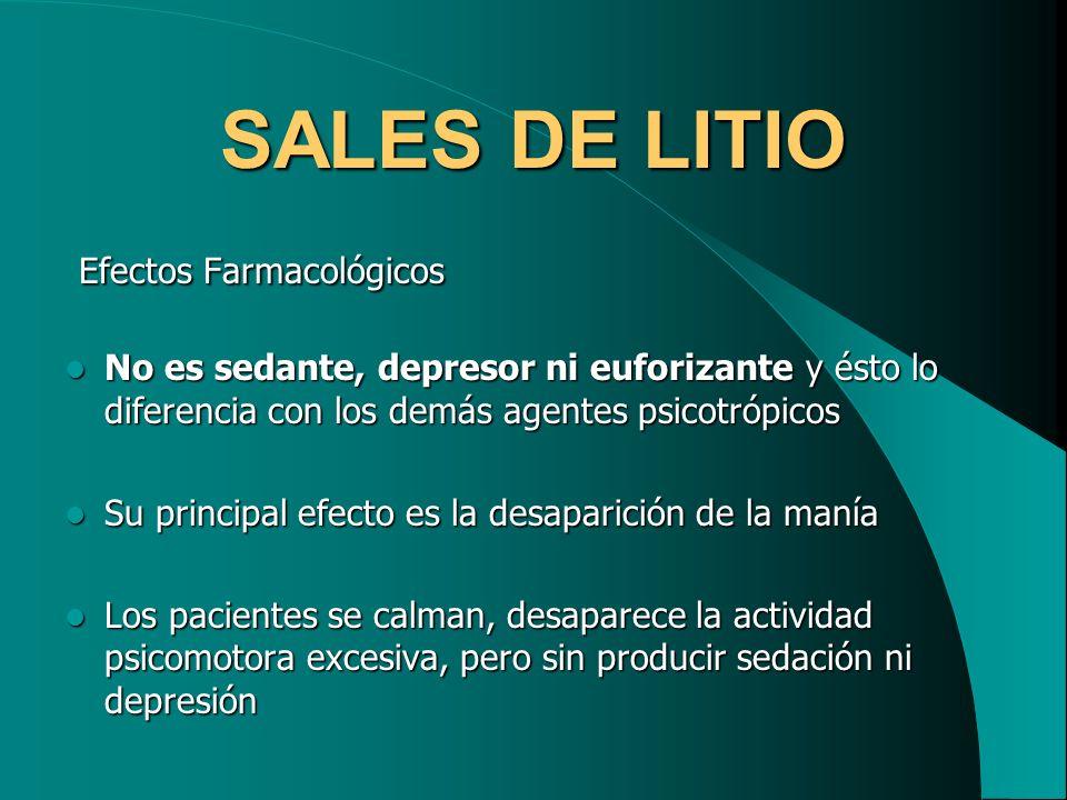 SALES DE LITIO Efectos Farmacológicos