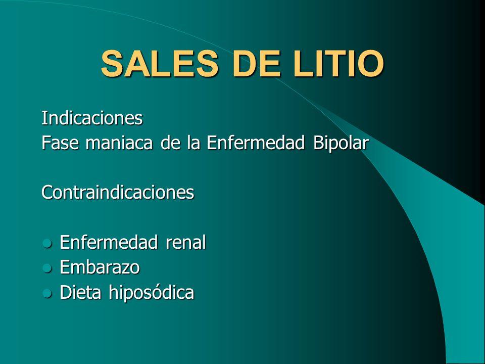 SALES DE LITIO Indicaciones Fase maniaca de la Enfermedad Bipolar