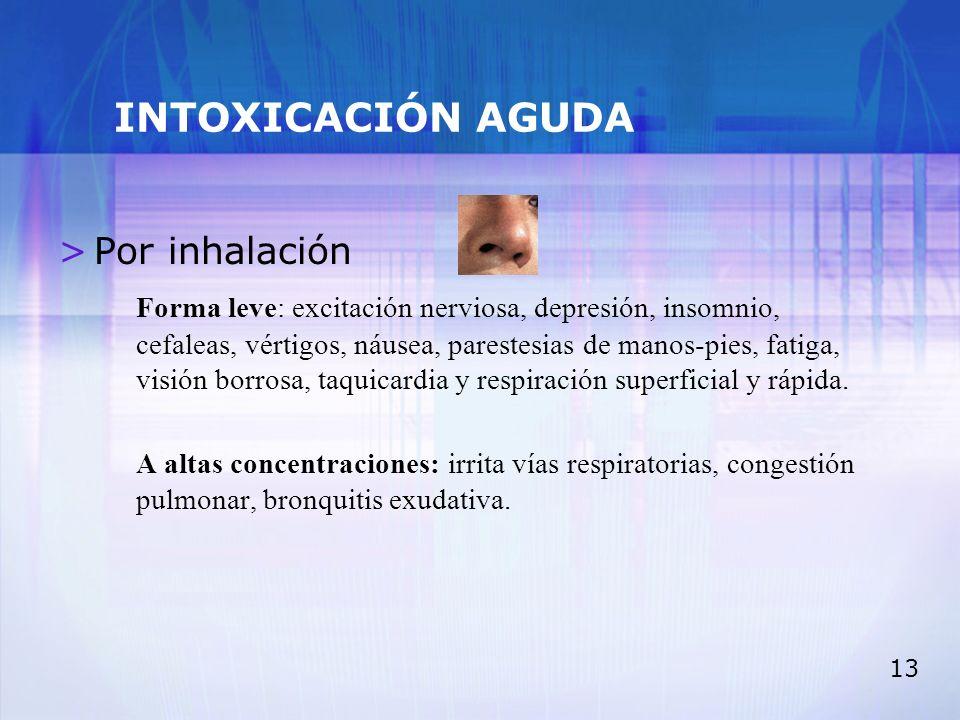INTOXICACIÓN AGUDA Por inhalación