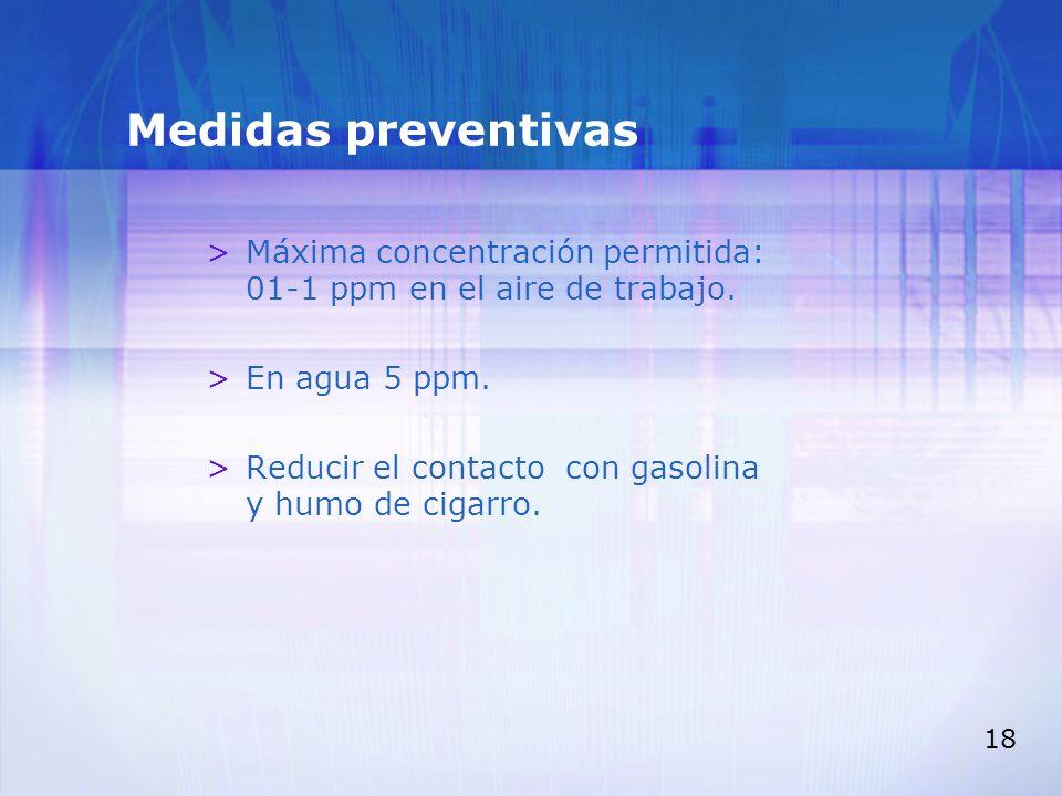 Medidas preventivas Máxima concentración permitida: 01-1 ppm en el aire de trabajo. En agua 5 ppm.