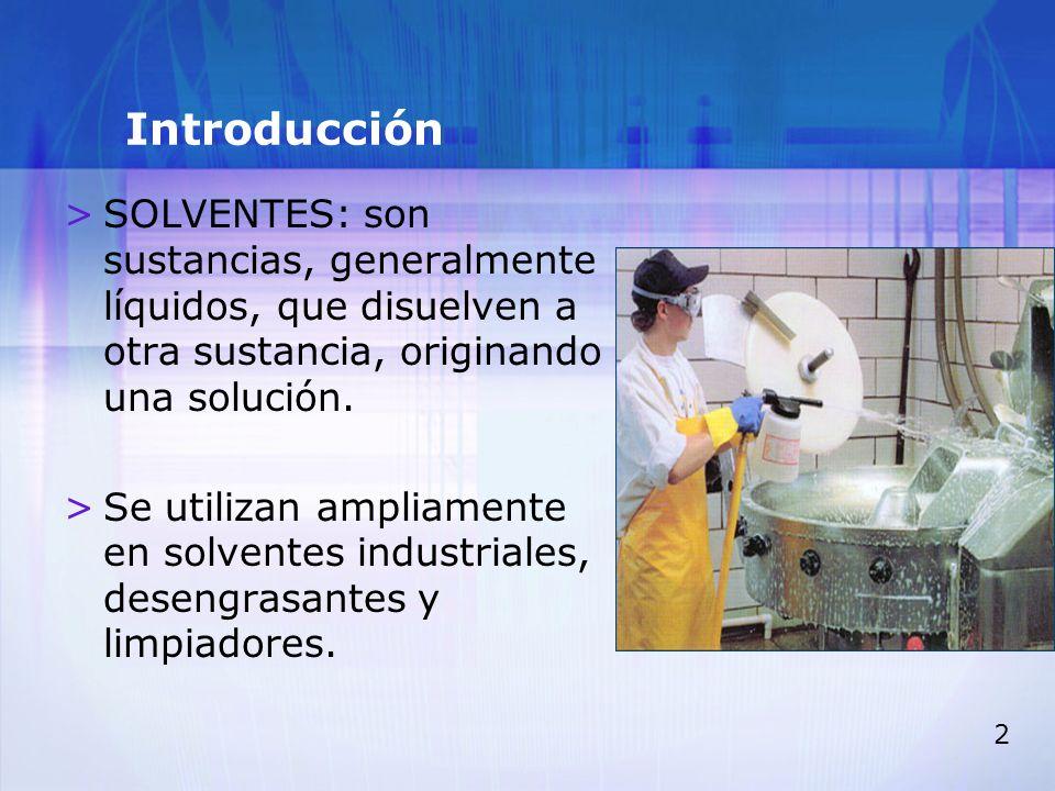 IntroducciónSOLVENTES: son sustancias, generalmente líquidos, que disuelven a otra sustancia, originando una solución.