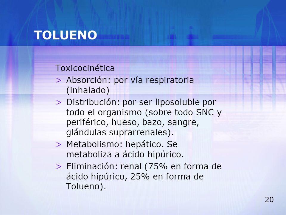 TOLUENO Toxicocinética Absorción: por vía respiratoria (inhalado)