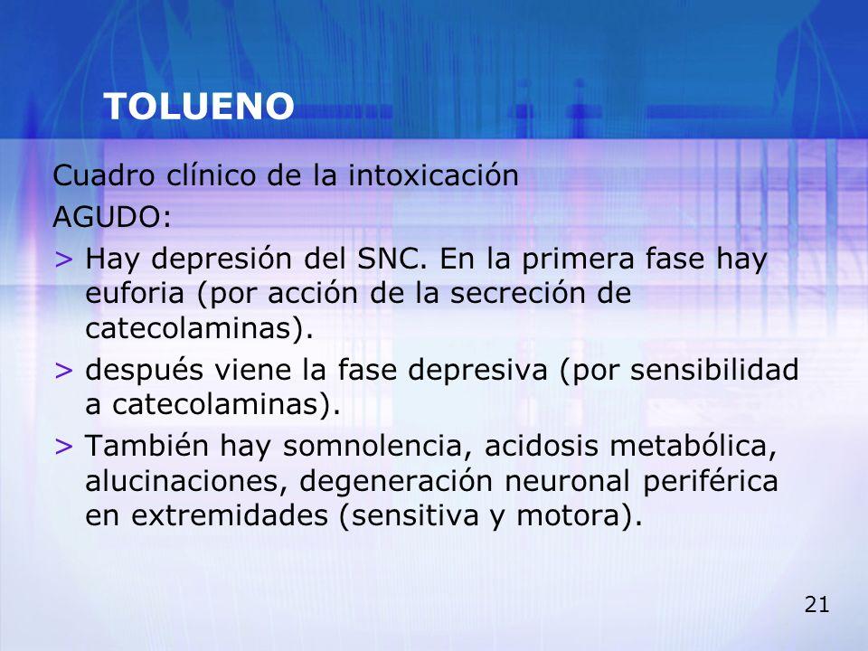 TOLUENO Cuadro clínico de la intoxicación AGUDO: