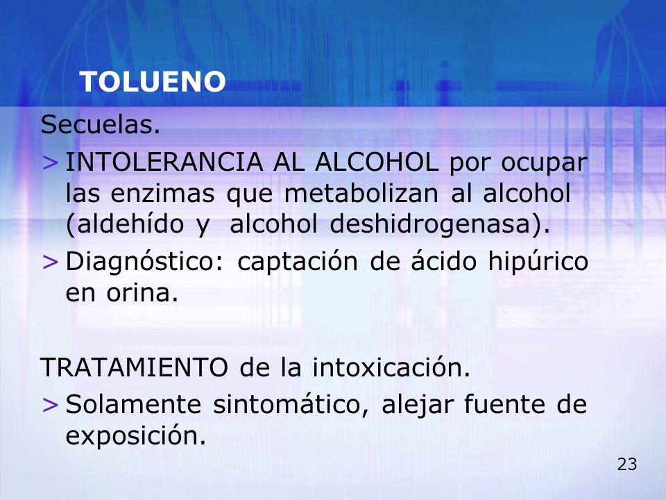 TOLUENO Secuelas. INTOLERANCIA AL ALCOHOL por ocupar las enzimas que metabolizan al alcohol (aldehído y alcohol deshidrogenasa).