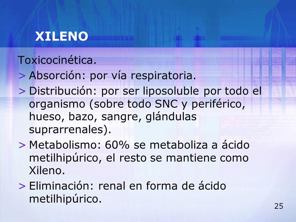 XILENO Toxicocinética. Absorción: por vía respiratoria.
