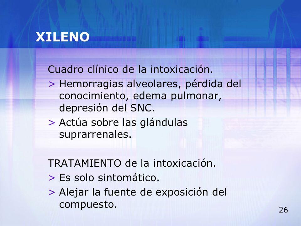 XILENO Cuadro clínico de la intoxicación.