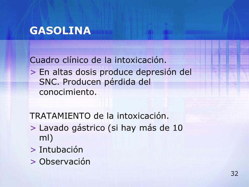 GASOLINA Cuadro clínico de la intoxicación.