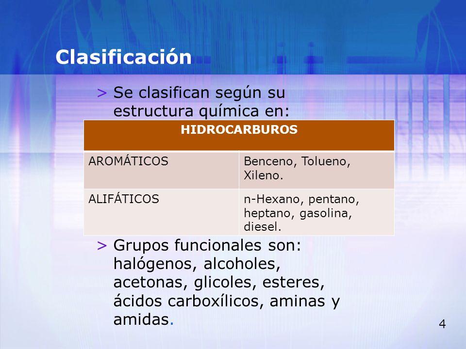 Clasificación Se clasifican según su estructura química en: