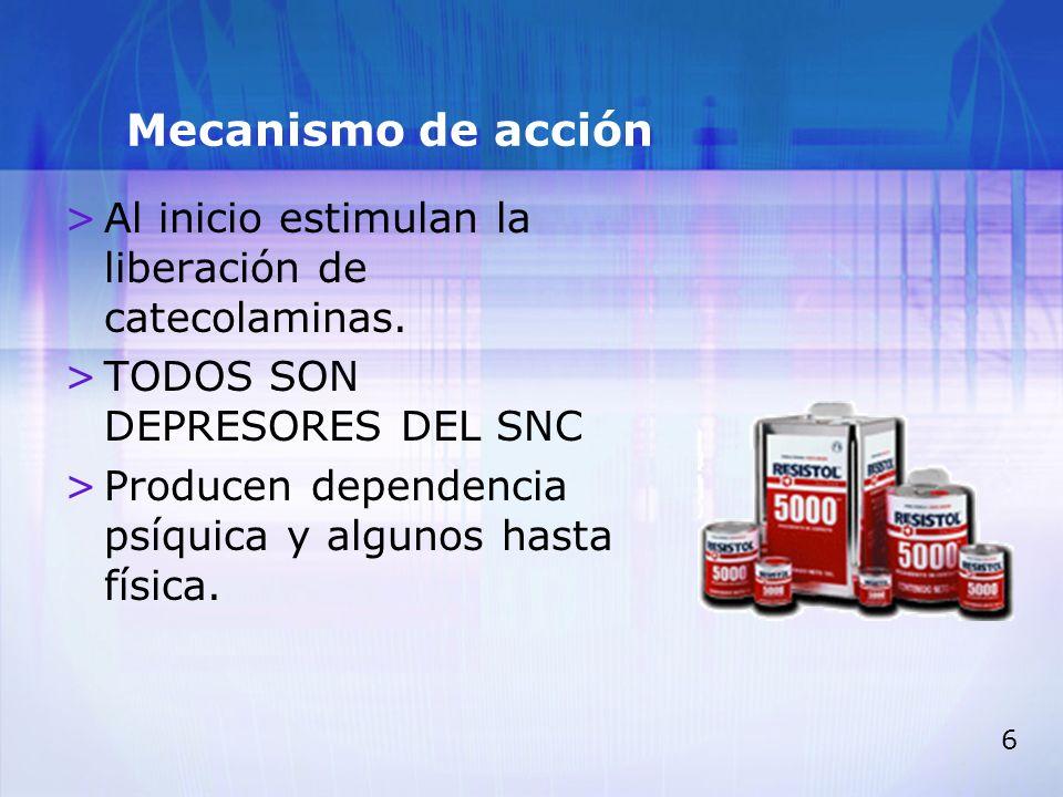 Mecanismo de acción Al inicio estimulan la liberación de catecolaminas. TODOS SON DEPRESORES DEL SNC.