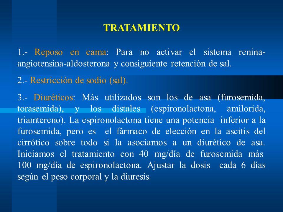 TRATAMIENTO 1.- Reposo en cama: Para no activar el sistema renina-angiotensina-aldosterona y consiguiente retención de sal.