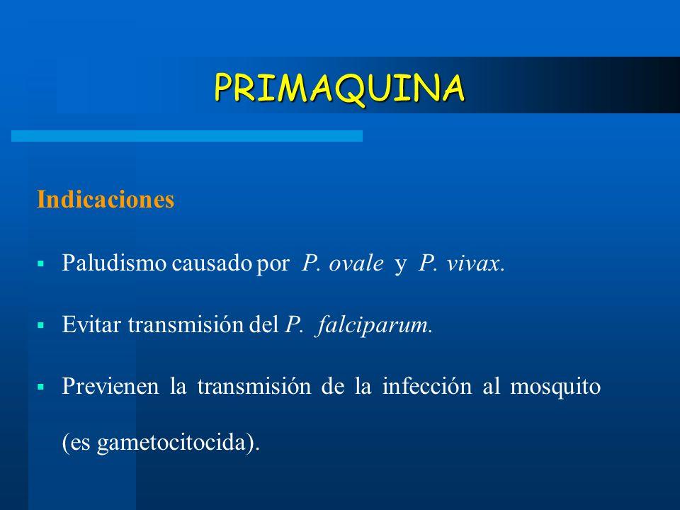 PRIMAQUINA Indicaciones Paludismo causado por P. ovale y P. vivax.