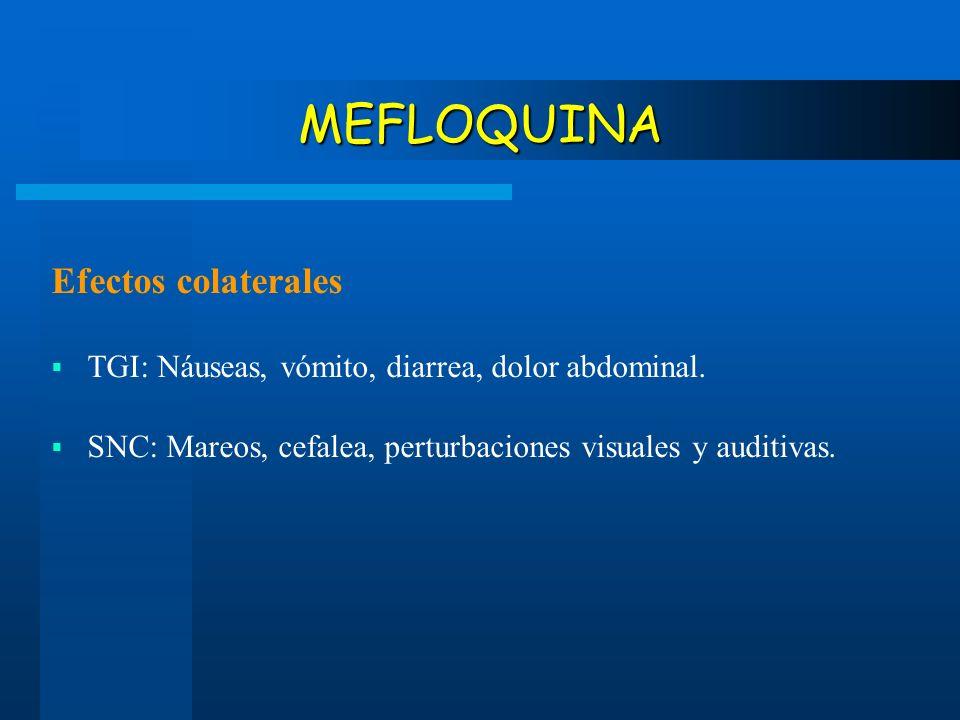 MEFLOQUINA Efectos colaterales