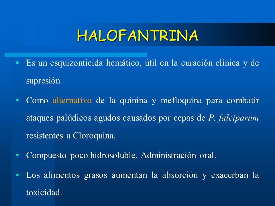 HALOFANTRINA Es un esquizonticida hemático, útil en la curación clínica y de supresión.