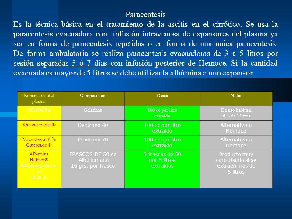 Paracentesis Es la técnica básica en el tratamiento de la ascitis en el cirrótico. Se usa la paracentesis evacuadora con infusión intravenosa de expansores del plasma ya sea en forma de paracentesis repetidas o en forma de una única paracentesis. De forma ambulatoria se realiza paracentesis evacuadoras de 3 a 5 litros por sesión separadas 5 ó 7 días con infusión posterior de Hemoce. Si la cantidad evacuada es mayor de 5 litros se debe utilizar la albúmina como expansor.