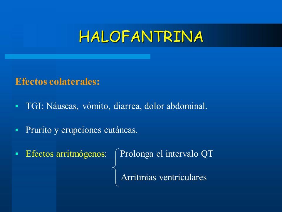 HALOFANTRINA Efectos colaterales: