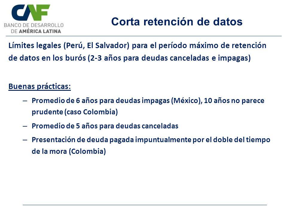 Corta retención de datos
