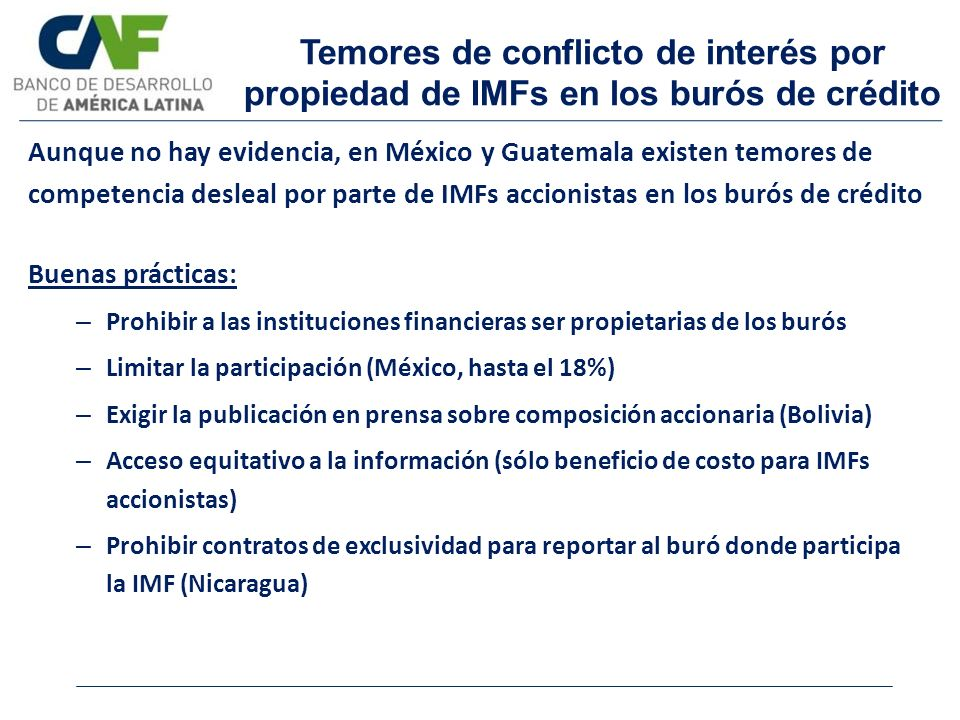 Temores de conflicto de interés por propiedad de IMFs en los burós de crédito