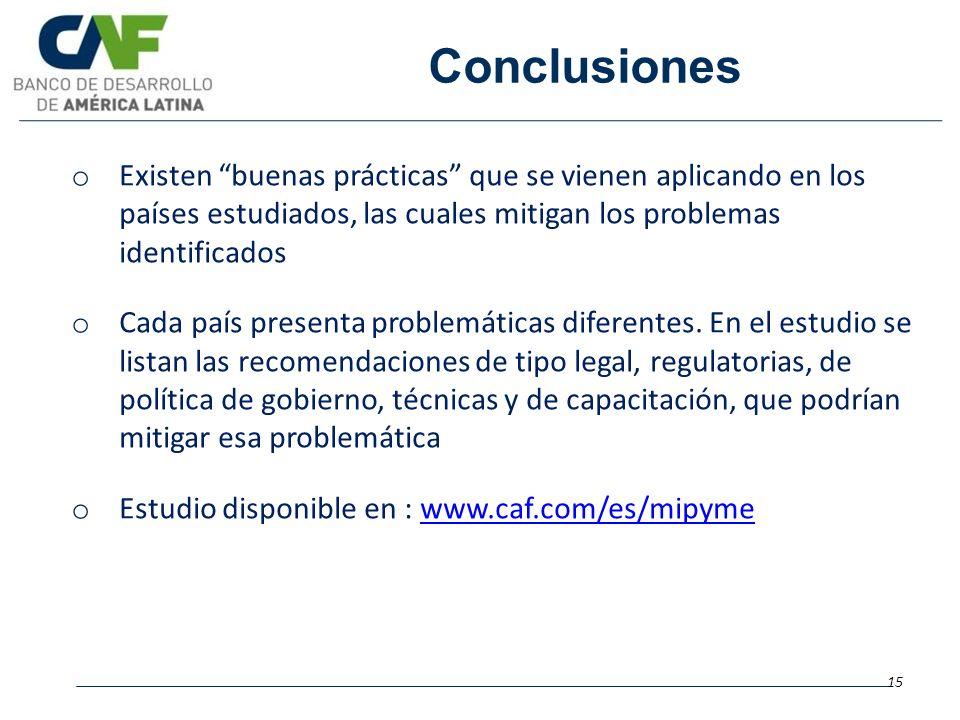 Conclusiones Existen buenas prácticas que se vienen aplicando en los países estudiados, las cuales mitigan los problemas identificados.