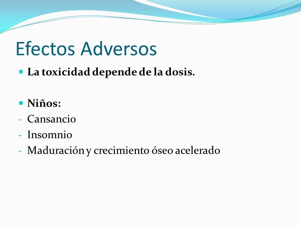 Efectos Adversos La toxicidad depende de la dosis. Niños: Cansancio