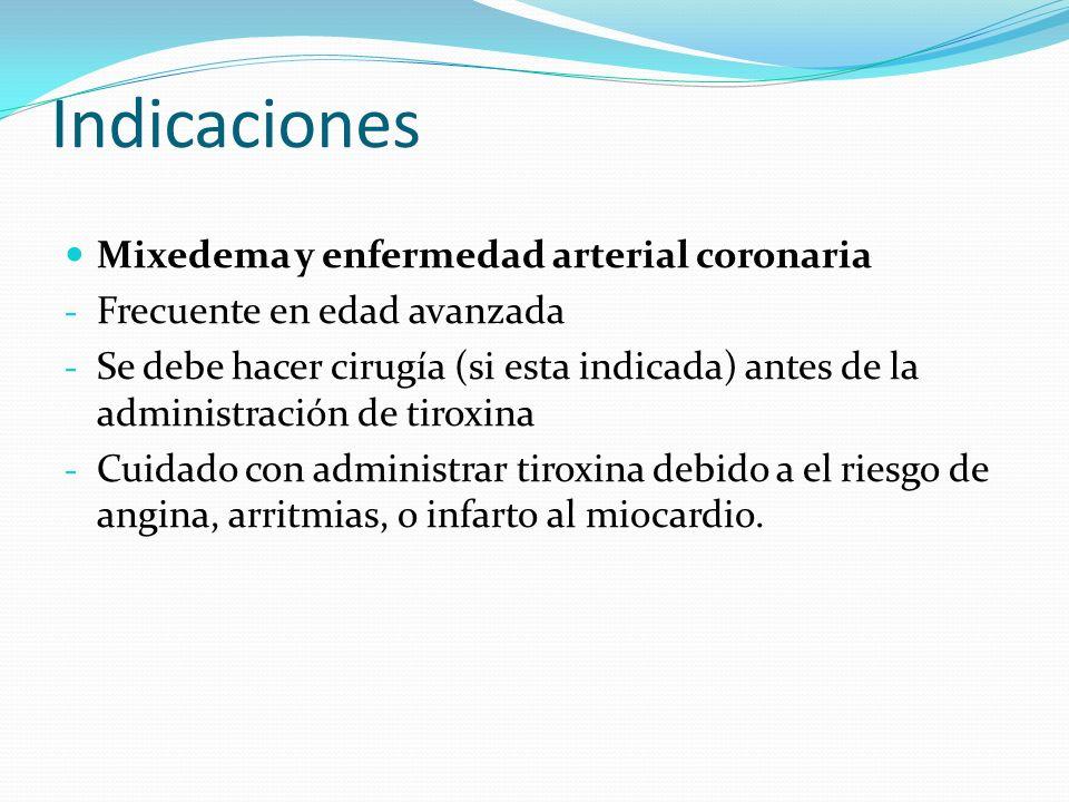 Indicaciones Mixedema y enfermedad arterial coronaria