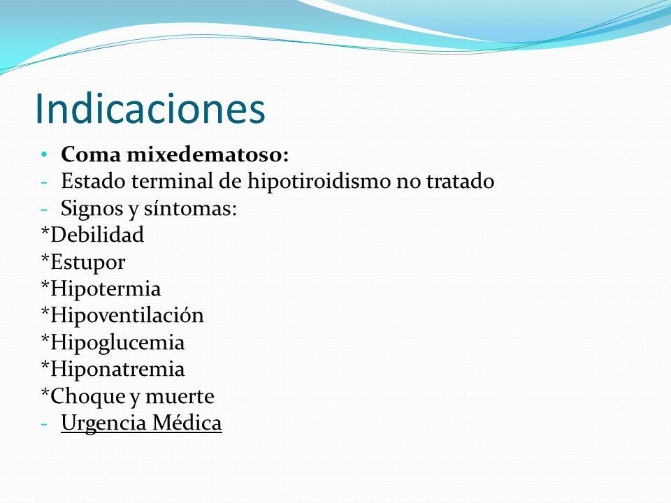 Indicaciones Coma mixedematoso: