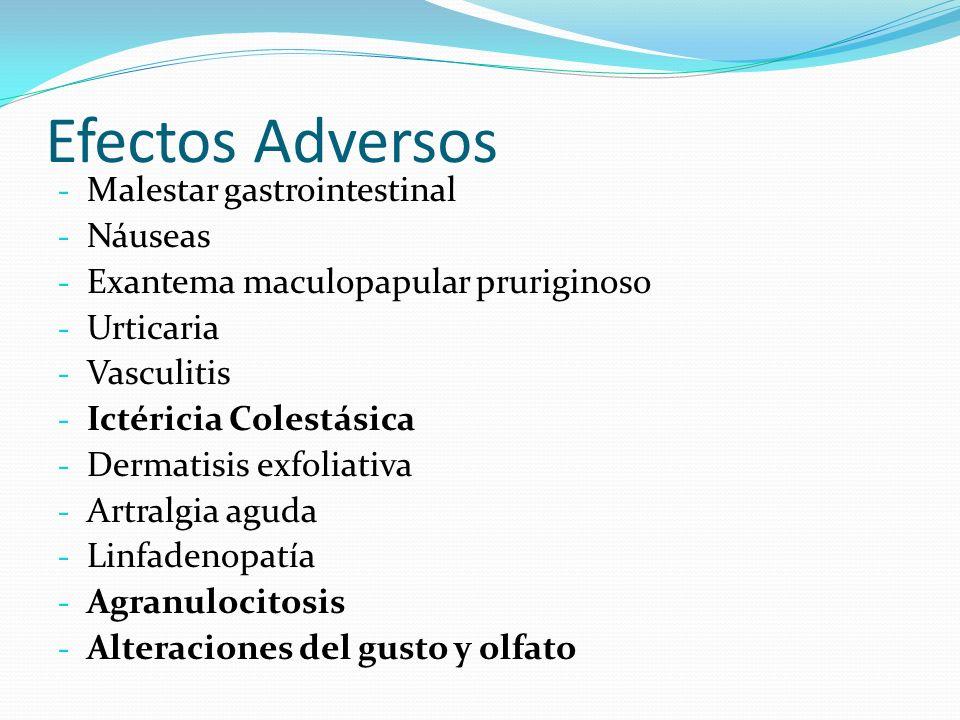Efectos Adversos Malestar gastrointestinal Náuseas