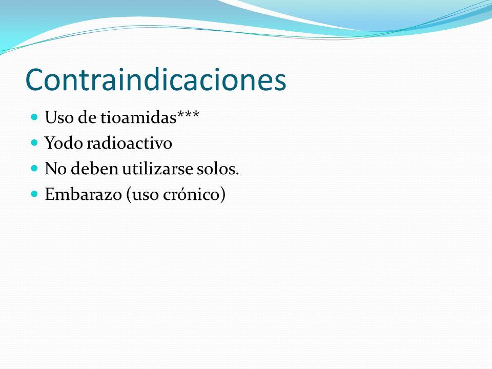Contraindicaciones Uso de tioamidas*** Yodo radioactivo