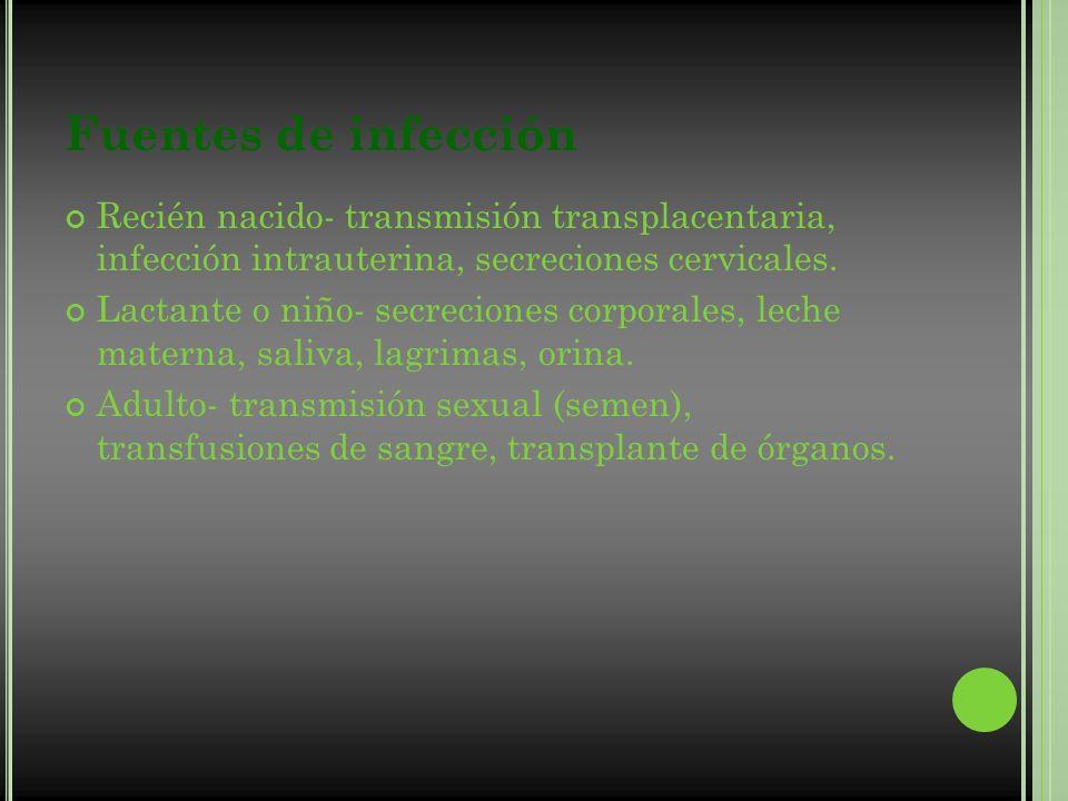 Fuentes de infección Recién nacido- transmisión transplacentaria, infección intrauterina, secreciones cervicales.