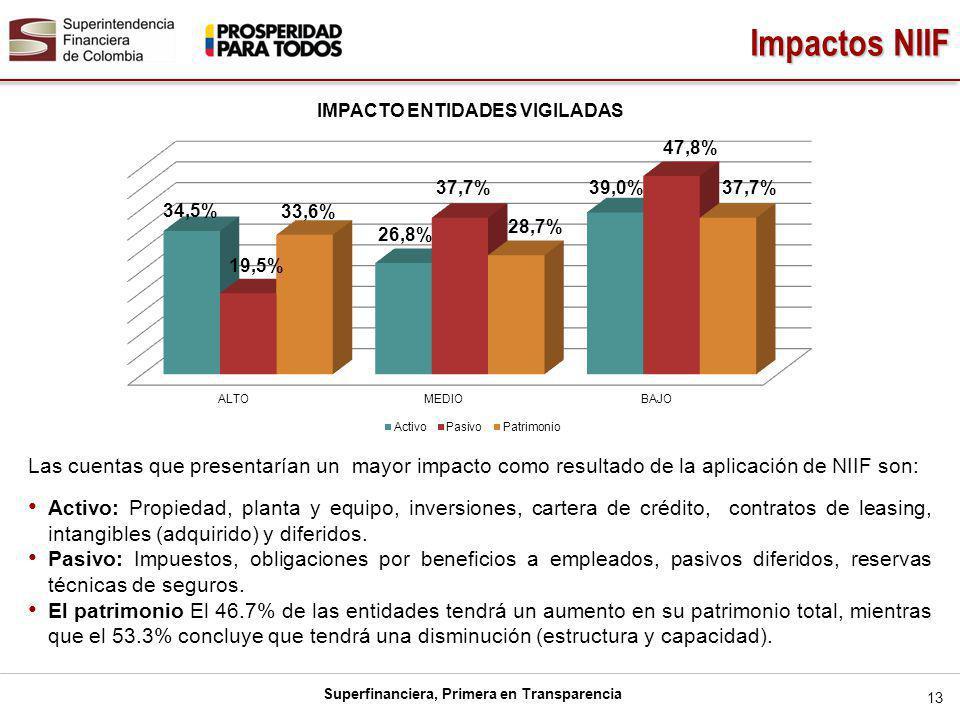 Impactos NIIF Las cuentas que presentarían un mayor impacto como resultado de la aplicación de NIIF son: