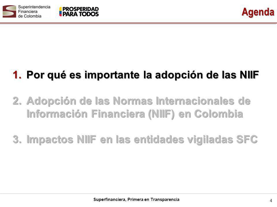 Agenda Por qué es importante la adopción de las NIIF. Adopción de las Normas Internacionales de Información Financiera (NIIF) en Colombia.