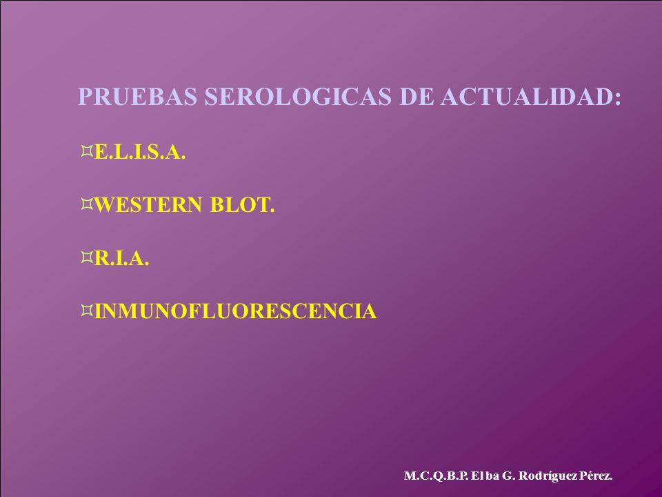 PRUEBAS SEROLOGICAS DE ACTUALIDAD: