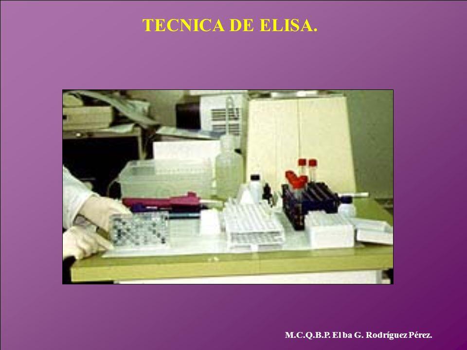 TECNICA DE ELISA. M.C.Q.B.P. El ba G. Rodríguez Pérez.