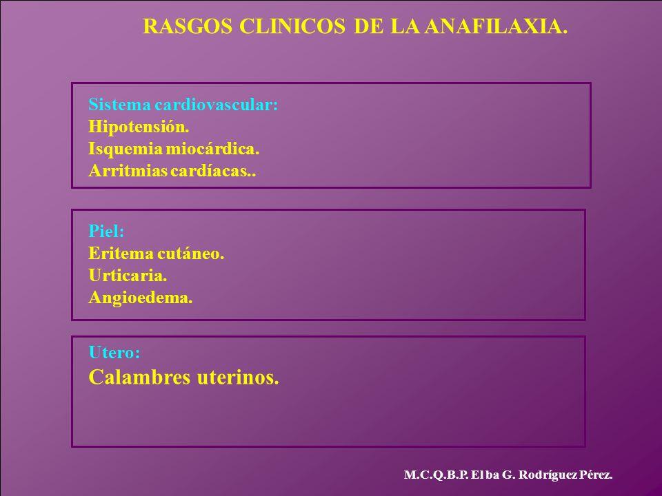 RASGOS CLINICOS DE LA ANAFILAXIA.
